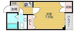 京阪本線 土居駅 徒歩3分の賃貸マンション 3階1Kの間取り