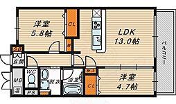 ドゥージエム京橋 1階2LDKの間取り