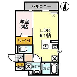 (仮称)D-room玉井町 2階1LDKの間取り