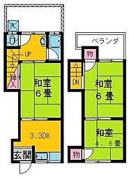 [テラスハウス] 大阪府守口市金田町1丁目 の賃貸【/】の間取り