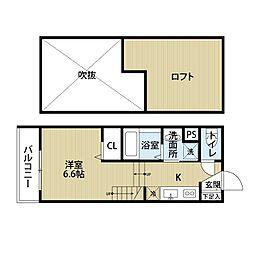 福岡県福岡市東区筥松1丁目の賃貸アパートの間取り