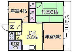福岡県久留米市宮ノ陣5丁目の賃貸アパートの間取り