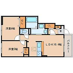 近鉄大阪線 五位堂駅 徒歩27分の賃貸アパート 1階2LDKの間取り