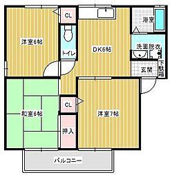 兵庫県神戸市西区王塚台3丁目の賃貸アパートの間取り