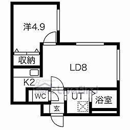 札幌市営東西線 南郷18丁目駅 徒歩5分の賃貸マンション 4階1LDKの間取り