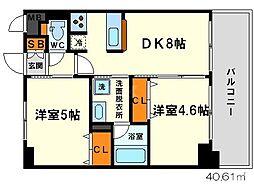 エステムコート新大阪IXグランブライト[9階]の間取り