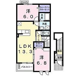 静岡県浜松市南区下江町の賃貸アパートの間取り