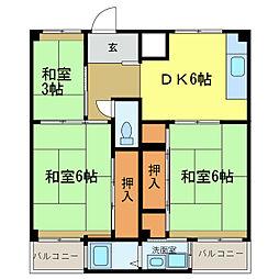 ビレッジハウス加賀田[2304号室]の間取り