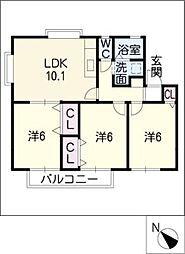 セジュール高柳A棟[2階]の間取り