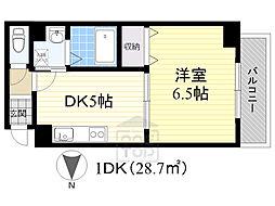 プロスパー南高浜 2階1DKの間取り