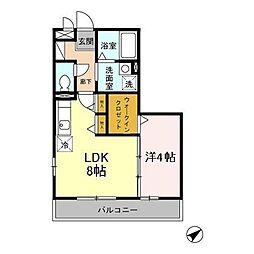 小田急多摩線 五月台駅 徒歩6分の賃貸アパート 2階1LDKの間取り