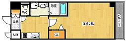 ロジュマン花川 8階1Kの間取り
