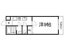 京阪本線 藤森駅 徒歩6分の賃貸マンション 2階1Kの間取り