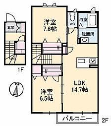 仮)ガーデンズK B棟[212号室]の間取り