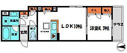京阪本線 守口市駅 徒歩13分の賃貸マンション 2階1LDKの間取り