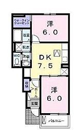 広島県福山市御幸町大字中津原の賃貸アパートの間取り