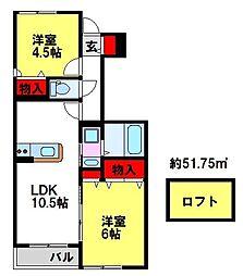 佐賀県鳥栖市宿町の賃貸アパートの間取り