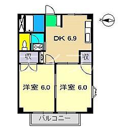ウエストハイツ(西秦泉寺)[2階]の間取り