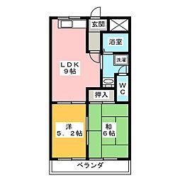 愛知県春日井市前並町2丁目の賃貸マンションの間取り