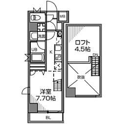 京王線 千歳烏山駅 徒歩1分の賃貸マンション 5階ワンルームの間取り
