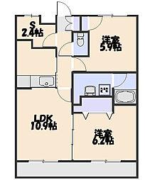 カーサ新所沢II[201号室]の間取り