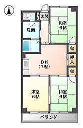 マンションカワシマ[2階]の間取り