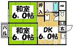 福岡県春日市須玖北5丁目の賃貸アパートの間取り