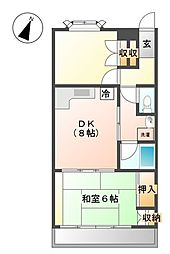 東京都武蔵野市中町3丁目の賃貸マンションの間取り