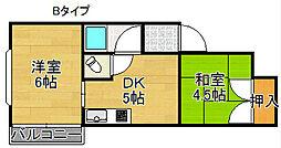 エトワール住之江[4階]の間取り