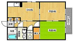 京都府京都市山科区音羽西林の賃貸アパートの間取り