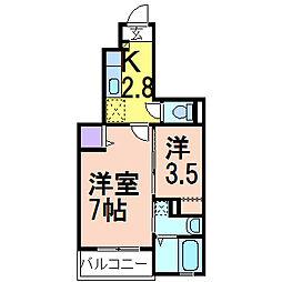 栃木県鹿沼市緑町3丁目の賃貸アパートの間取り