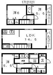 [一戸建] 大阪府大阪市住吉区清水丘2丁目 の賃貸【/】の間取り