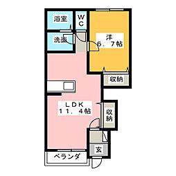 茨城県水戸市米沢町の賃貸アパートの間取り