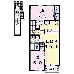 エスポア B棟 2階2LDKの間取り