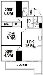北海道札幌市中央区南七条西21丁目の賃貸マンションの間取り