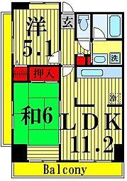 コーポレート竹ノ塚2丁目[406号室]の間取り