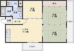 第2泰山ハイツ[6階]の間取り