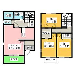 サンモールA・B[1階]の間取り