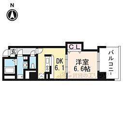 JR東海道・山陽本線 京都駅 徒歩9分の賃貸マンション 4階1DKの間取り
