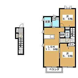 シャン・ド・フルール B棟[2階]の間取り