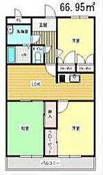福岡県北九州市若松区青葉台南1丁目の賃貸マンションの間取り