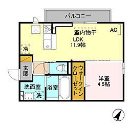 (仮)D-room寺尾台[A201号室]の間取り