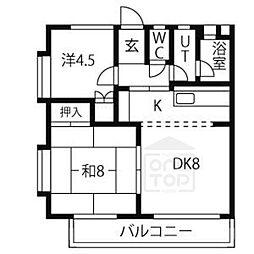 第18オオタビル[302号室]の間取り