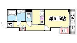 兵庫県神戸市長田区駒ヶ林町1丁目の賃貸アパートの間取り