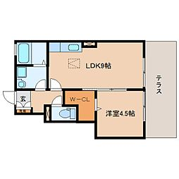 静岡県静岡市駿河区大谷1丁目の賃貸アパートの間取り