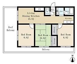 本町ベルハイム(使いやすい振り分けタイプ)[605(最上階、角住戸)号室]の間取り