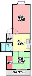 大野パレス 3階2Kの間取り