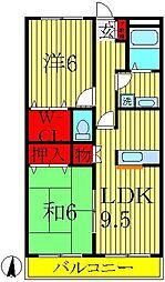 千葉県柏市南増尾6の賃貸アパートの間取り