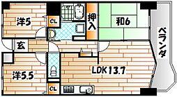 福岡県北九州市八幡西区鉄竜1丁目の賃貸マンションの間取り