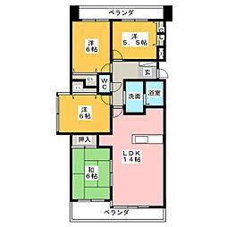 愛知県長久手市武蔵塚の賃貸マンションの間取り